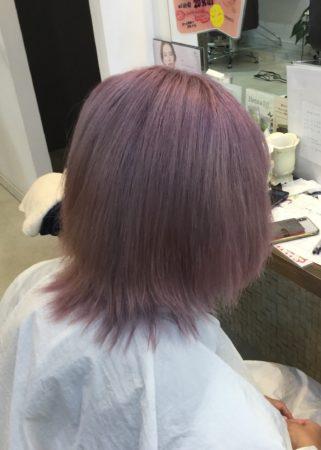 ブリーチ3回ほどして縮毛矯正とカラー(After)